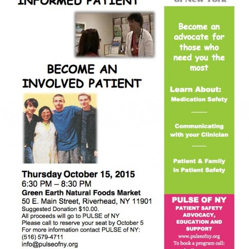 PULSE of NY Will Introduce Patient Safety Education in Riverhead October 15